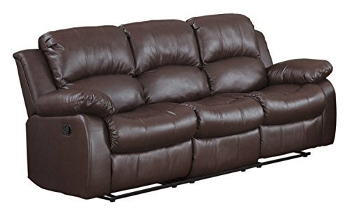 Divano Roma Bonded Leather Double Reclining Sofa