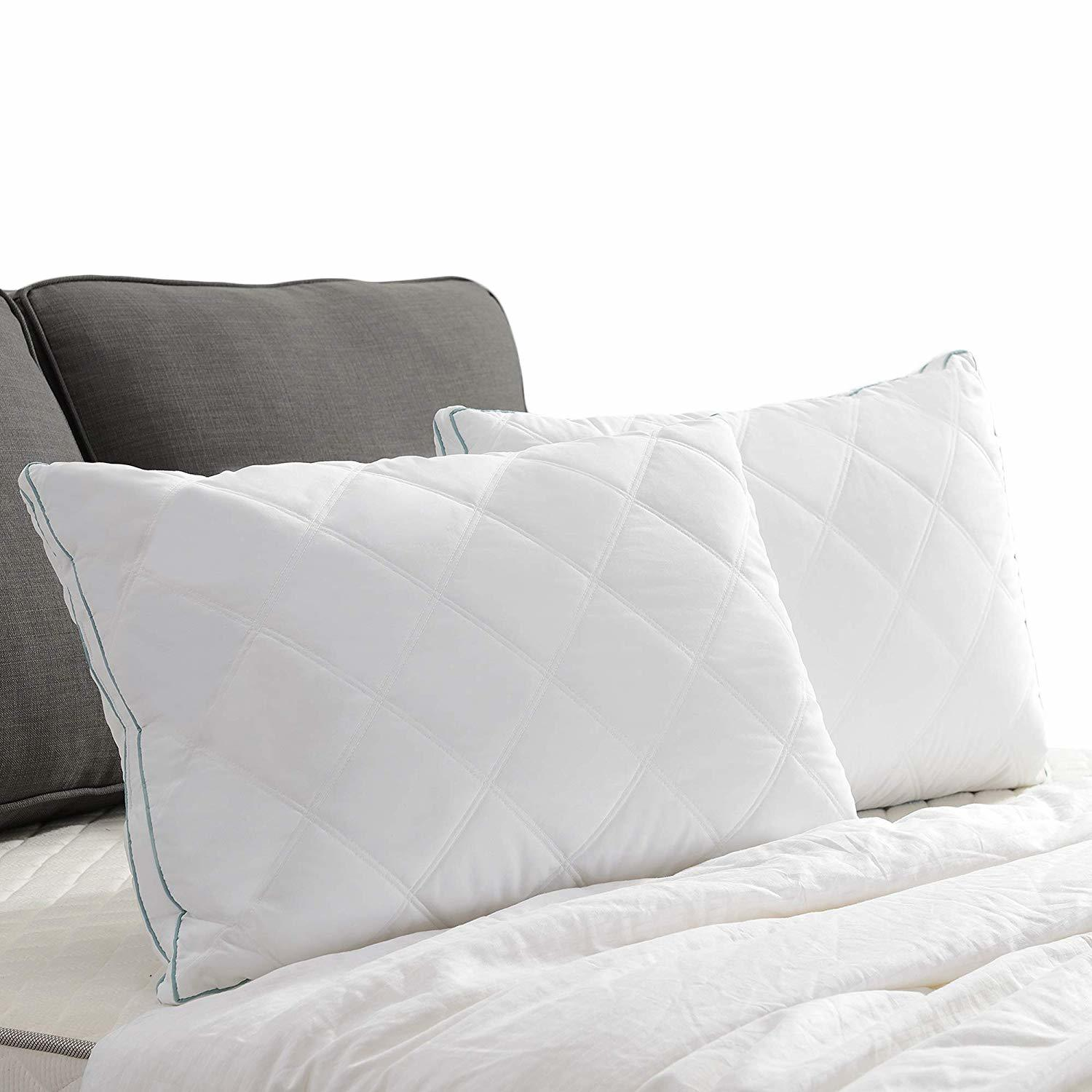 Basic Beyond Feather Down Pillow - Double Diamond Desigen Gusseted Soft Quilted Bed Pillow
