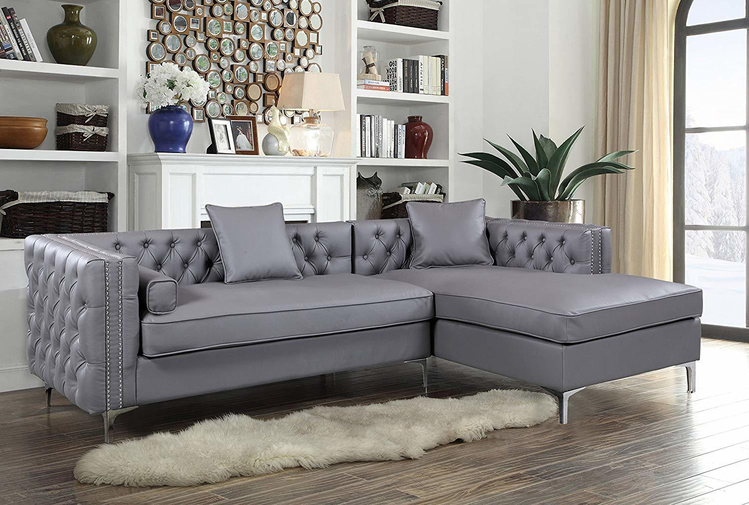 Iconic Home Da Vinci Tufted Silver Trim Grey PU Leather Right Facing Sectional Sofa