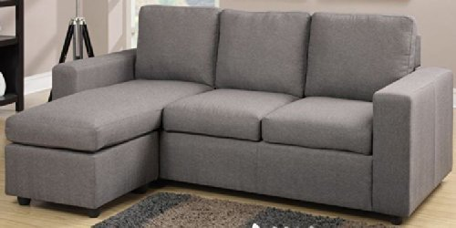 Linen-Like Fabric Reversible Sectional Sofa